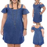 UK Women Summer Denim Jeans Off Sholuder Ruffled Long Tops Shirt Mini Dress Plus
