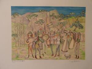 "G.Silva ""Verdiales"" singing for Los Santos Inocentes (Malaga)original lithograph"