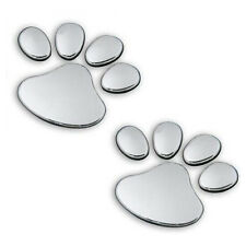 1Pair 3D Sticker Dog Paw Print Decorative Stickers For Cars Decal Chrome Effect