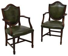 Leather Armchairs, English Sheraton Style, Antique Pair, early 1900s