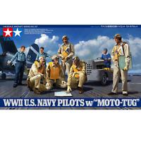 """Tamiya 61107 WWII U.S, Navy Pilots w/""""Moto-Tug"""" 1/48"""
