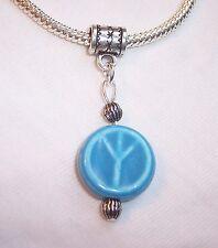1960's Peace Sign Blue Ceramic Dangle Bead fits Silver European Charm Bracelets
