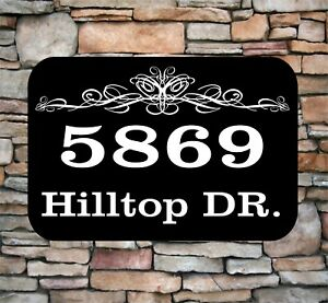 """Personalized Home Address Sign Aluminum 12"""" x 8"""" Custom House Number Plaque sq4"""