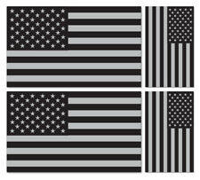 4 x USA- AMERICAN STARS & STRIPES FLAG METALLIC SILVER AND BLACK VINYL STICKER