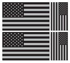 4 x USA-American Stars & Stripes BANDIERA Argento Metallico E Nero Adesivo Vinile