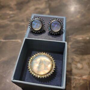 Sz 8.75 KIRKS FOLLY Ring Earrings Set Seaview Moon Rhinestones Astrology lot box