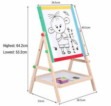 Kids Play Study Standing Easel Chalkboard Draw Blackboard Whiteboard Adjustable