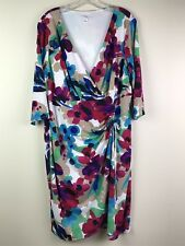 London Times Wrap Front Dress Sz 18W 3/4 Sleeve Stretch Career Pink Blue Plus