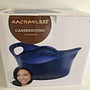Rachel Ray Blue Casserround Casserole Dish w Lid Wide Handles 2.75 qt Stoneware