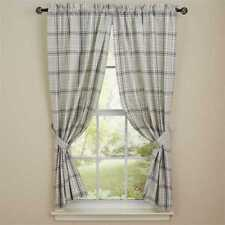 Collin Panel Curtains 72WX63L Gray Off-White Plaid Country Farmhouse Window