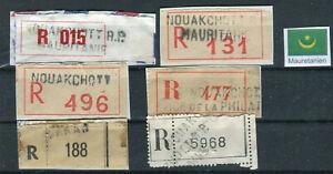 MAURETANIEN, 6 alte R-Zettel, verschiedene Typen, sehr selten