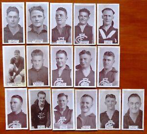 1933 Wills VFL Cigarette Cards:  CARLTON  (Blues)  x  16