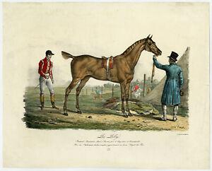 2 Antique Prints-HORSE-RACEHORSE-JOCKEY-Vernet-1820