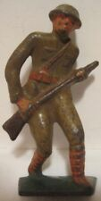 Old 1920s Cast Iron Military Toy Soldier Doughboy Charging w/ Rifle -
