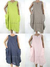 NEW Womens Italian POLKA DOT Knee Length COTTON Pocket Midi DRESS
