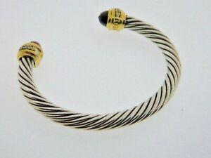 David Yurman Cable Classics bangle  garnet 18k gold & sterling silver Retired