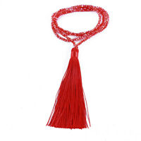 Crystal Beaded Necklace With Long Tassel Pendant Necklace Women Jewelry LD