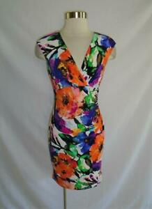 Ralph LAUREN Size 6P Vibrant Ruched Floral Print Jersey Dress 6P
