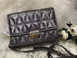 Michael Kors Ruby Metallic Quilted Clutch Crossbody