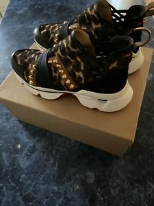 CHRISTIAN LOUBOUTIN 123 Run Leopard Neoprene Satin Studded Sneaker EU 39/US 9