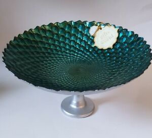 Akcam 3D Forged Silver Peacock Fruit BOWL PEDESTAL SERVING DISH Alter