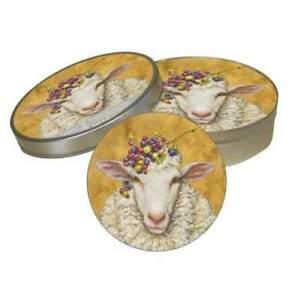 New PPD Vicki Sawyer Pulpboard 12 Coasters Tin Case VINEYARD SHEEP gift brown