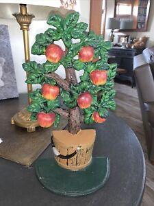 "Door Stopper - Cast Iron Vintage Decorative ""Apple Tree"" Orig Paint 13.5""Tall"