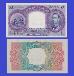 BARBADOS 5 DOLLAR 1939 UNC - Reproduction