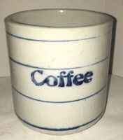 """Antique Blue & White Stoneware """"Coffee"""" Canister Stenciled Design Pottery Crock"""