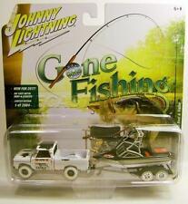 1965 '65 CHEVY TRUCK WITH BOAT & TRAILER GONE FISHING WHITE LIGHTNING CHASE CAR
