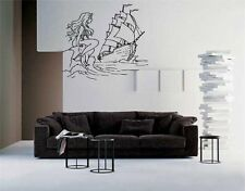 Mermaid and Pirate Ship Wall Art Sticker Decal d-420
