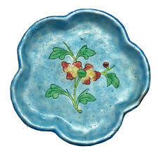 Antique Chinese Brass Enamel Floral Dish - Ca 1860-1960 - Asian Artwork Old