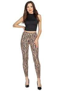 Ladies High Waisted Zebra Pattern Leggings Wide Waistband Stretchy Pants FS393