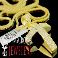 Dome Cross Pendant & Chain Simu Diamond 10K Yellow Gold On Real Silver Hot Mini