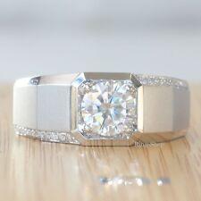 2.10 Ct Off White Moissanite Man Wedding Engagement Ring Set 925 Sterling Silver