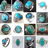 925 Silver Turquoise Gems Ring Men Women Wedding Party Gypsy Ring Band Sz 6-10