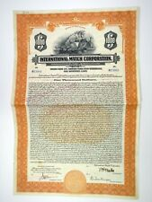 International Match Corp. 1923 Specimen 6 1/2% $1000 Registered Bond XF ABN