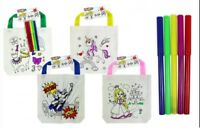 KIDS COLOUR YOUR OWN TOTE BAG FELT TIP PENS COTTON KIDS CRAFTS STORAGE DECOR