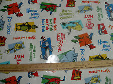 LAMINATED Cotton Fabric  Dr Seuss Characters on white Cat in the Hat Grinch BTY