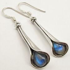 925 Silber ! MONDSTEIN Tropfen Edelsteine Überraschende Geschenk Ohrringe 4.2 CM