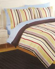Full / Queen - Izod - Parkway Stripe -Navy Red Beige White Comforter & Shams