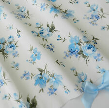 "per half  metre floral blue & ivory fabric  100% cotton poplin 44 "" wide"