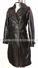 Felicia Black Ladies Women's Smart Long Real Soft Leather Jacket Trench Coat