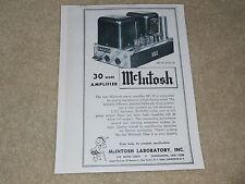 McIntosh MC-30 Tube Mono Amplifier Ad, 1956, 1 page, Article, Specs