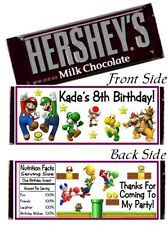 12 Super Mario Brothers Bros Birthday Party Candy Hershey Bar Wrappers Favors