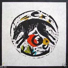 HEWITT Charles ( CHARLIE HEWITT ) American artist. Hand overpainted woodcut.