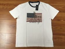 $45 NWT POLO RALPH LAUREN Mens White Graphic SS T-Shirt Big Flag/Big Pony  XL