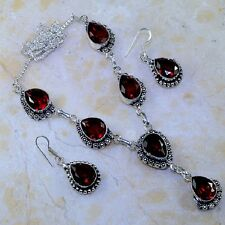 "Handmade Elegant Red Ruby Garnet 925 Sterling Silver Necklace 19"" Set #J73796"
