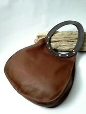 Anthropologie Raichel Bag by Dean Circular Handles Leather Brown MSRP $268