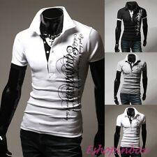Mens Polo Shirts Casual Summer Letter Short Sleeve Slim Fit T Shirt Tops S-2XL